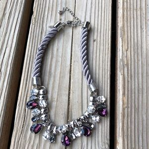 Chico's Jewelry - Stunning Chico's Grey Satin Crystal Necklace!